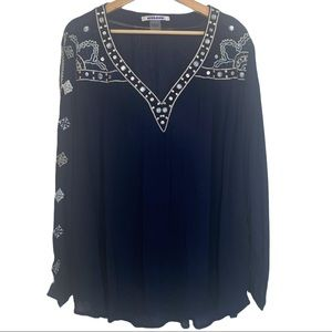Nygard Flowy Embroidered Navy Top or Swim Coverup